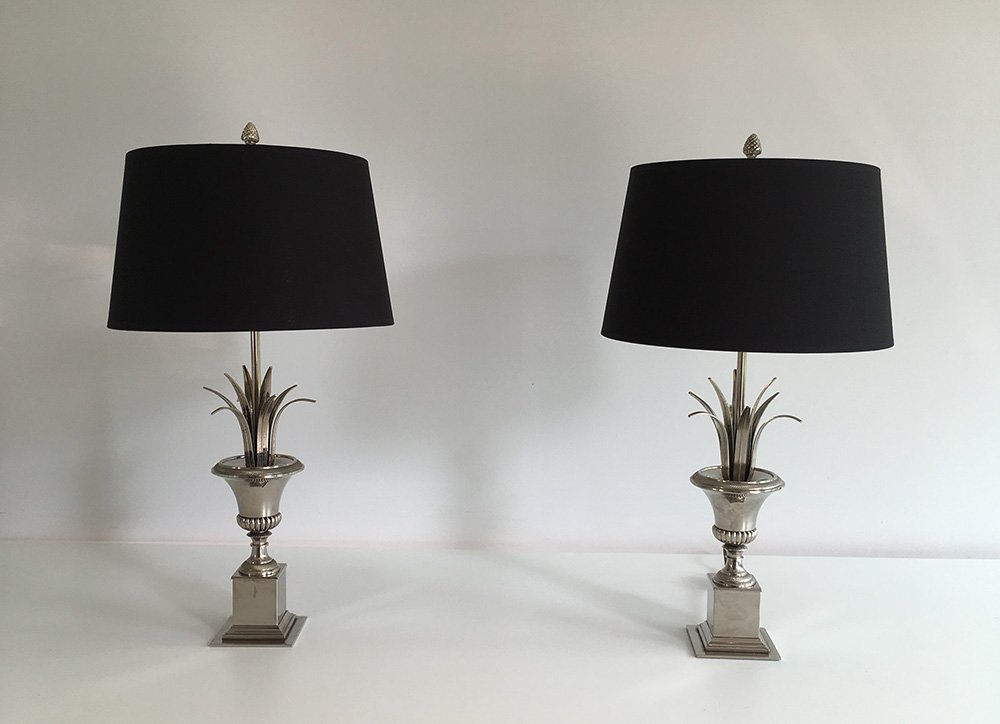 vintage table lamps with grass decor set of 2 for sale at. Black Bedroom Furniture Sets. Home Design Ideas