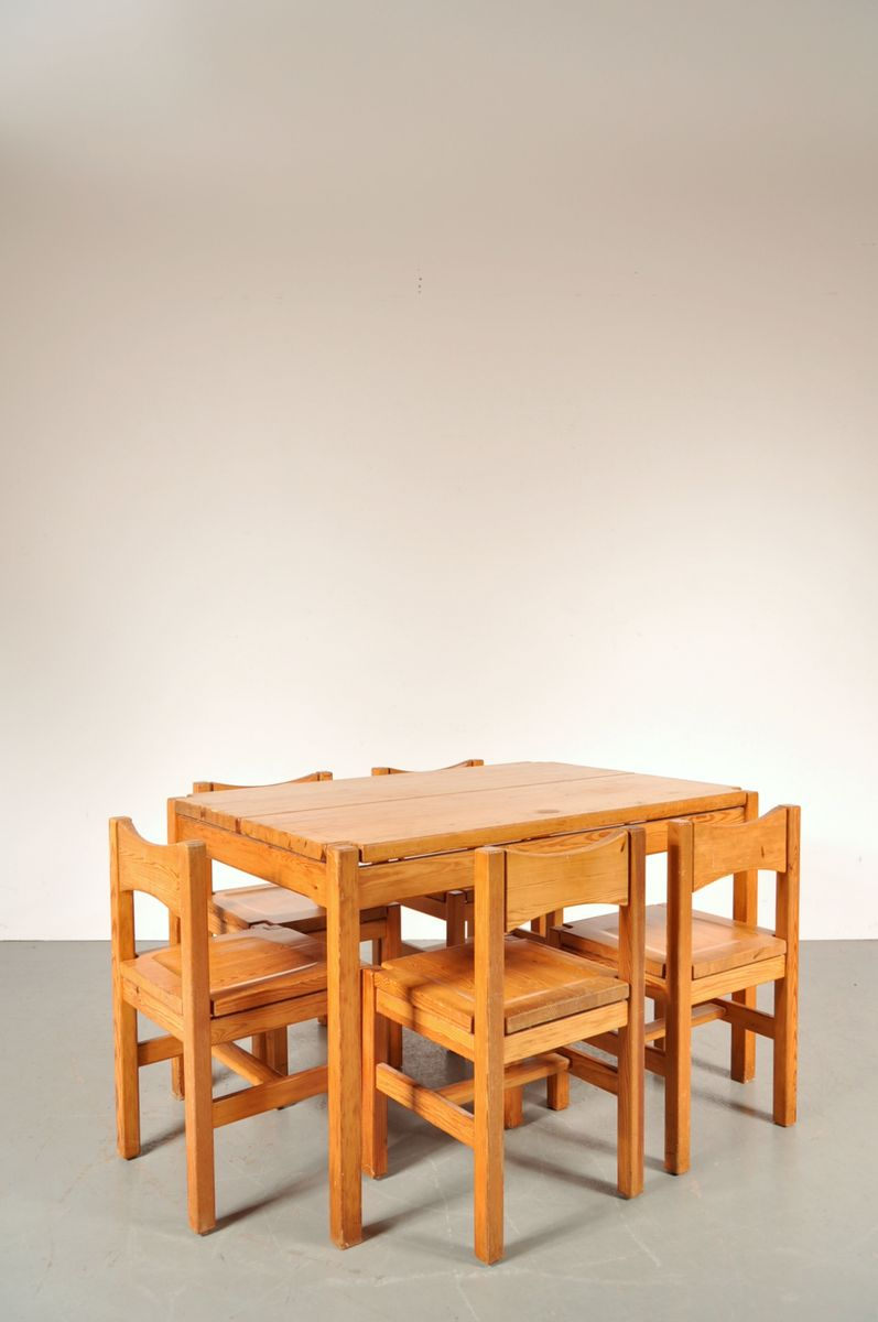 oak dining room set by ilmari tapiovaara for laukaan puu 1970s for sale at pamono. Black Bedroom Furniture Sets. Home Design Ideas