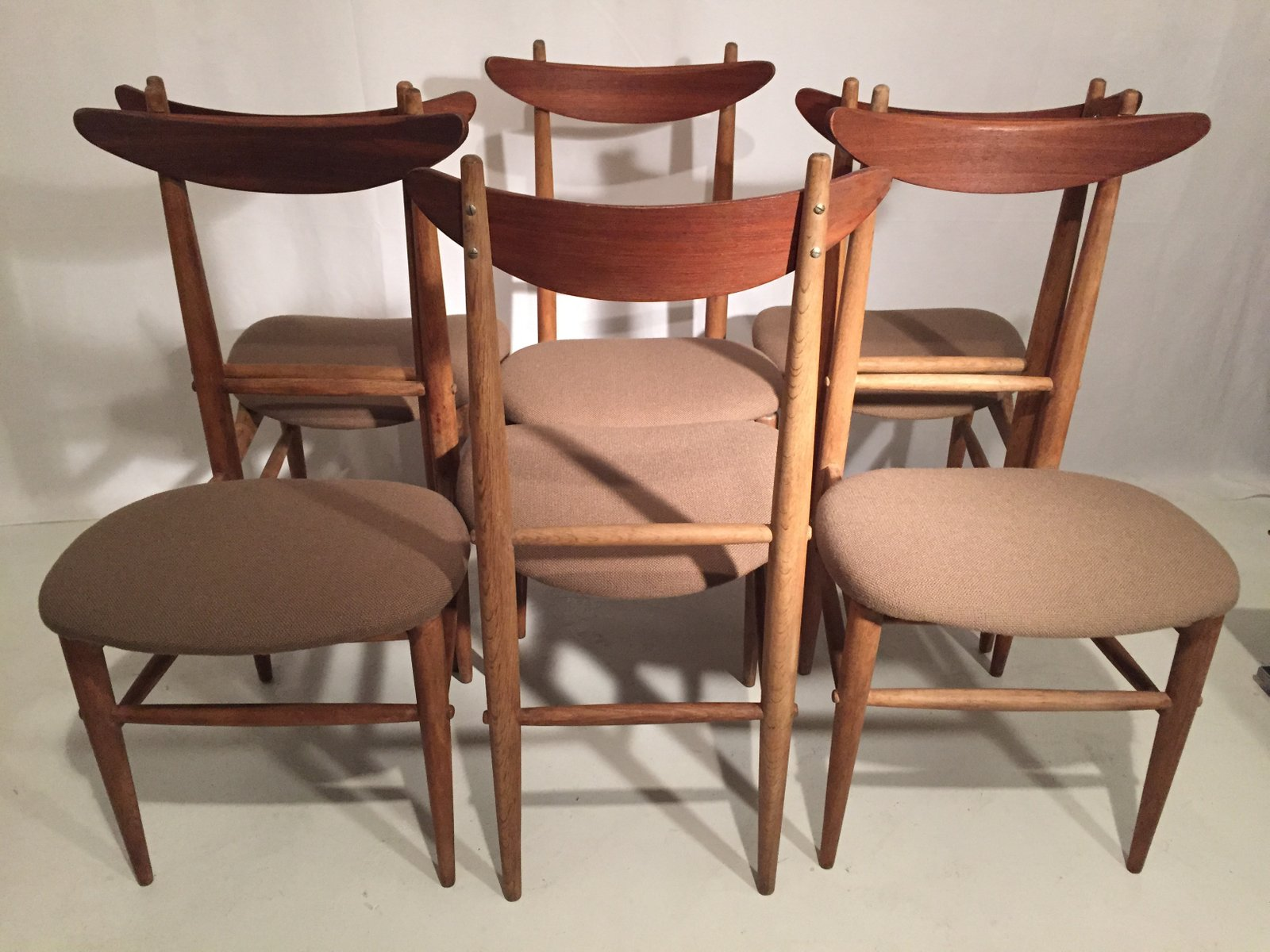 Vintage Teak And Oak Dining Chairs Set Of 6 For Sale At