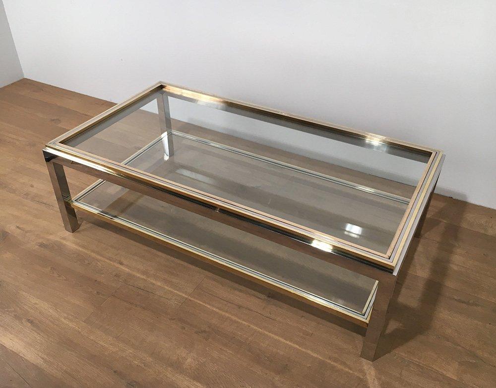 Table Basse Vintage En Verre Et En Laiton Par Willy Rizzo 1970s En Vente Sur Pamono