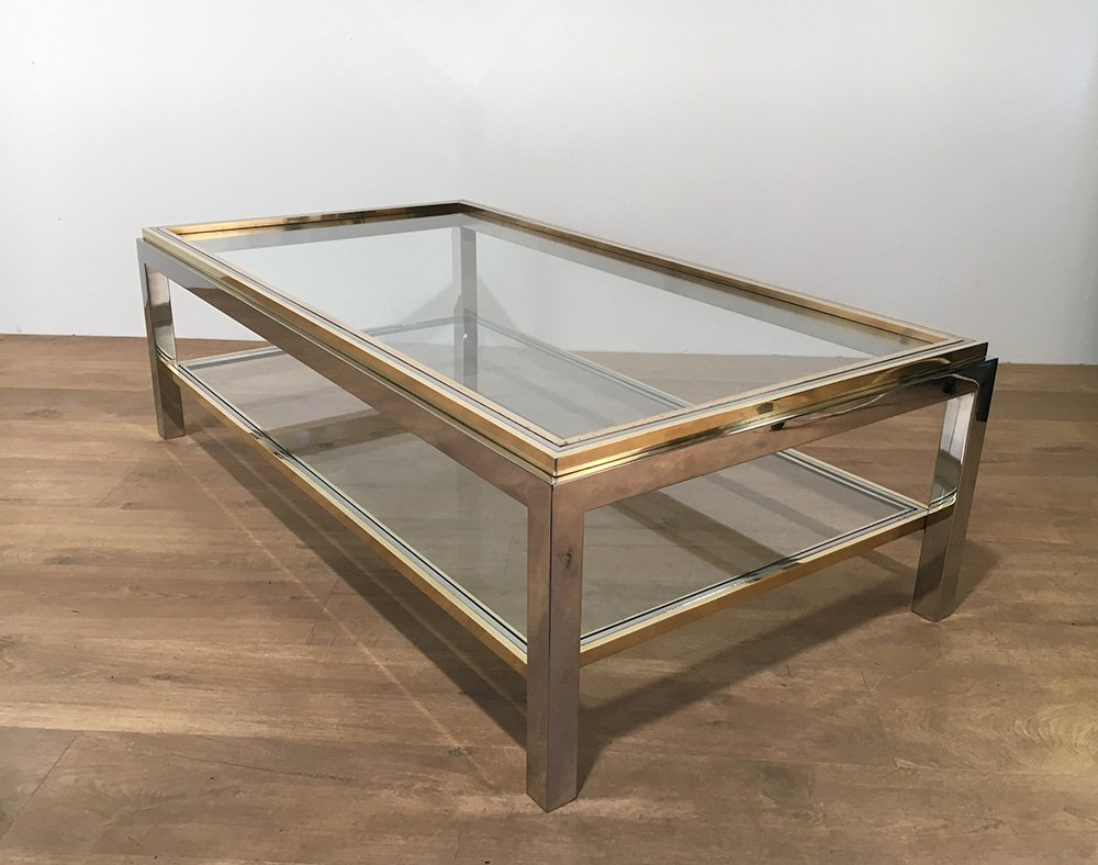 Vintage glass brass coffee table by willy rizzo 1970s for Table verre et bois