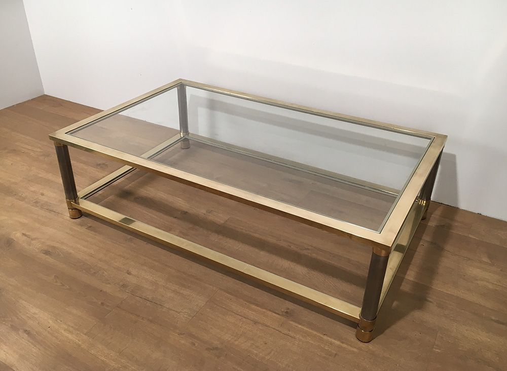 Vintage Brass And Glass Coffee Table For Sale At Pamono
