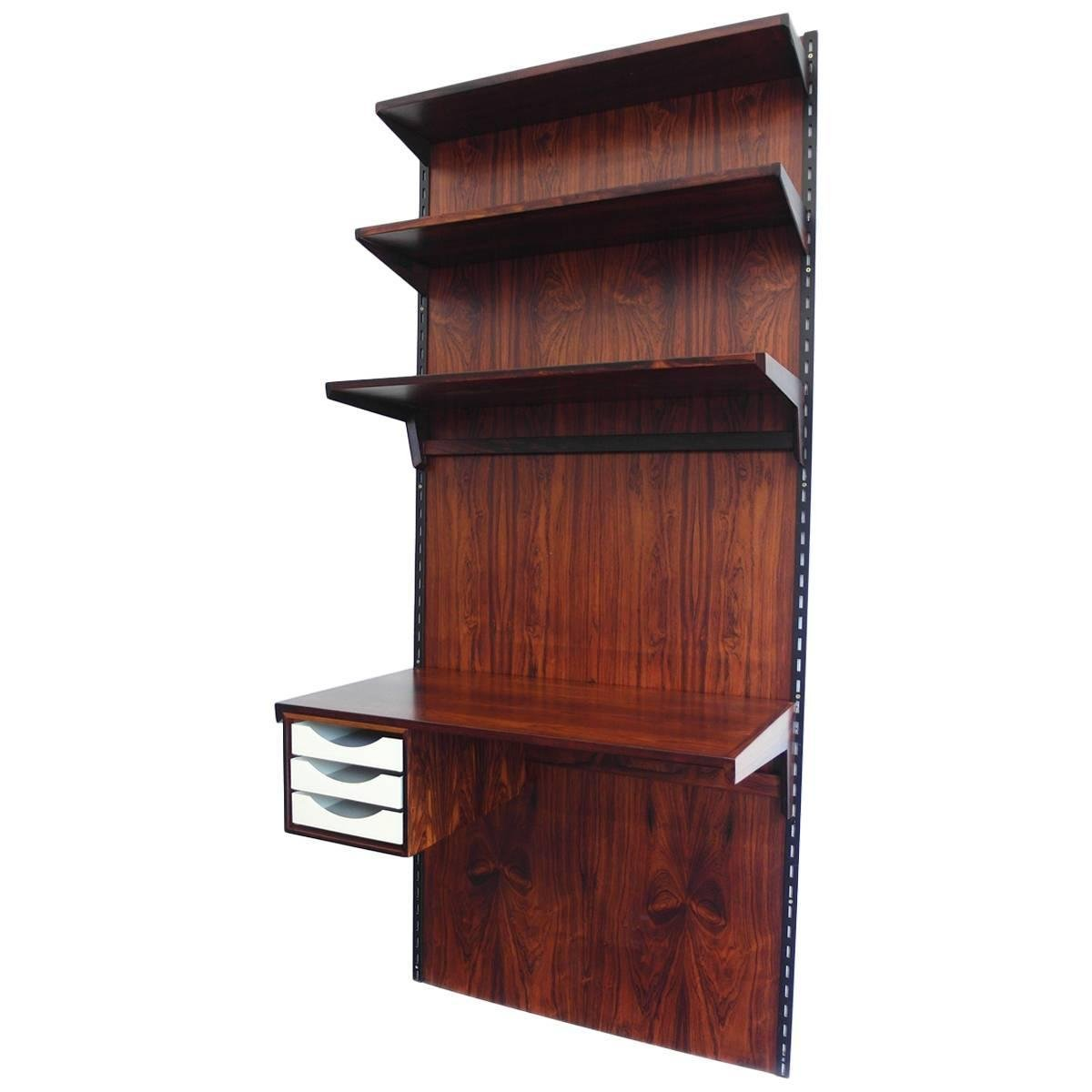 rosewood wall mounted shelving unit with desk by kai. Black Bedroom Furniture Sets. Home Design Ideas
