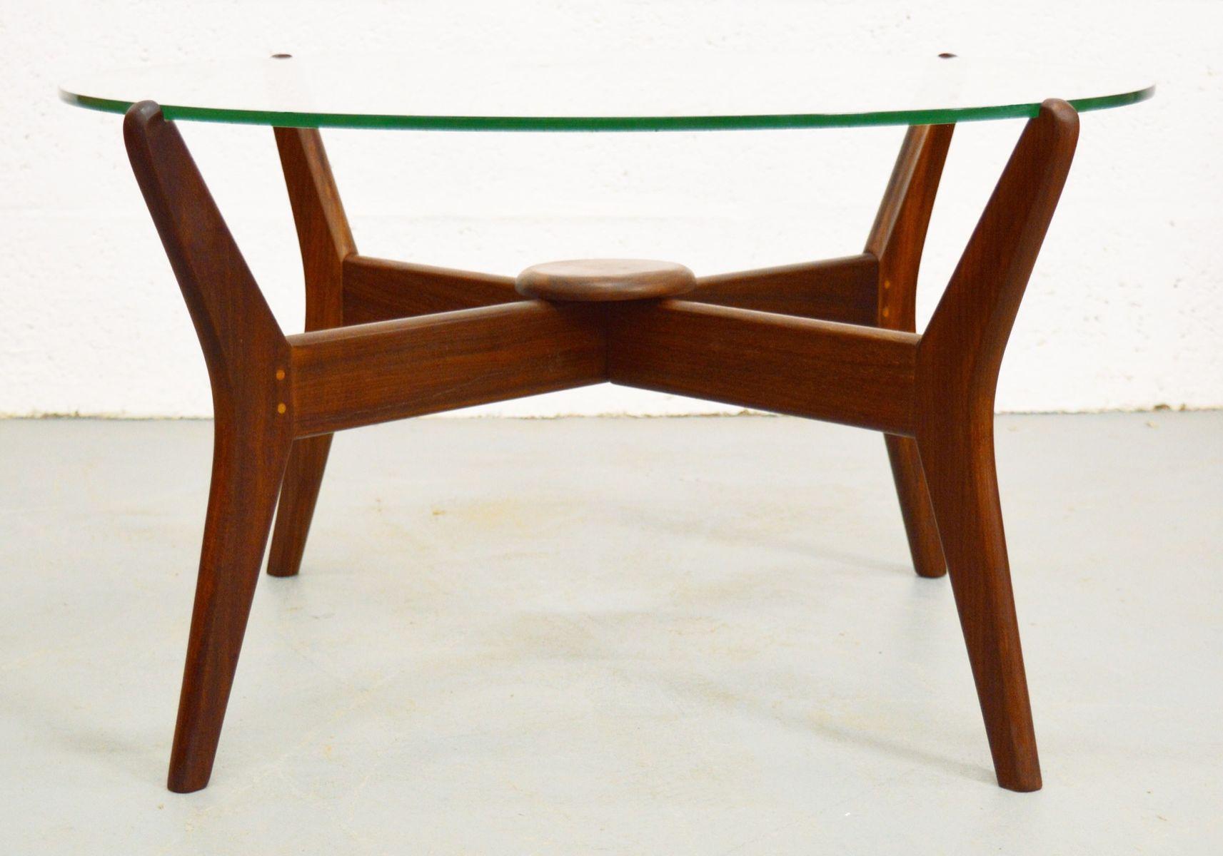 Mid Century Danish Teak Glass Coffee Table For Sale At Pamono