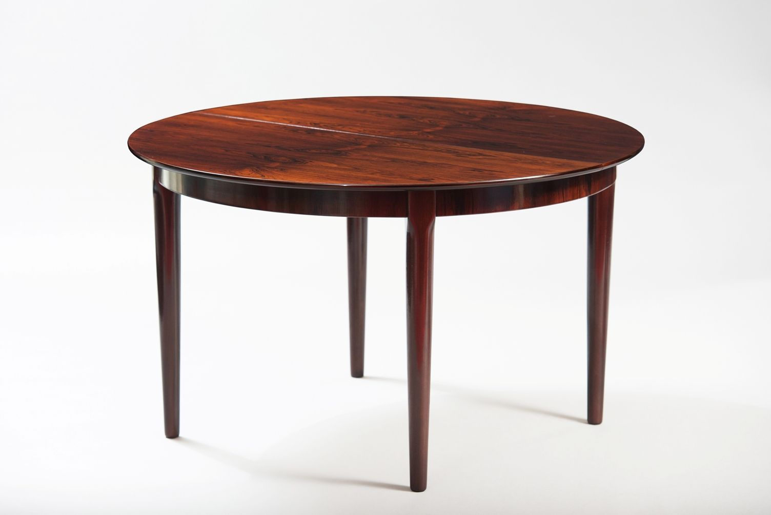 Mid Century Danish Rosewood Extendible Round Dining Table