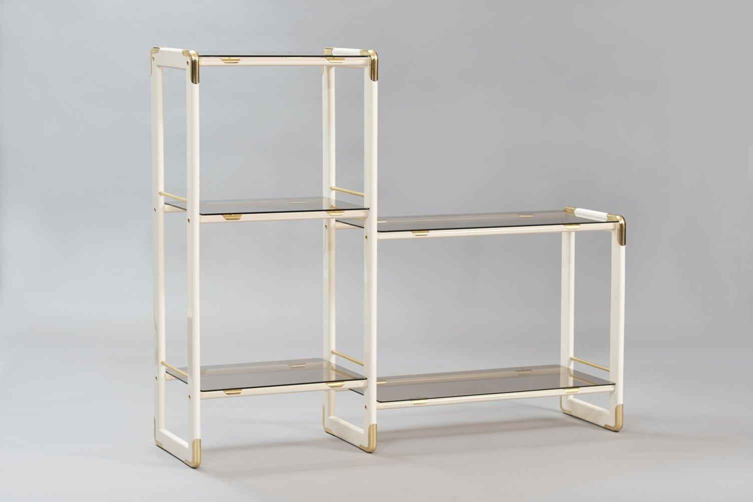 Glass Bookshelf Vintage Italian Wood Brass Glass Bookshelf For Sale At Pamono