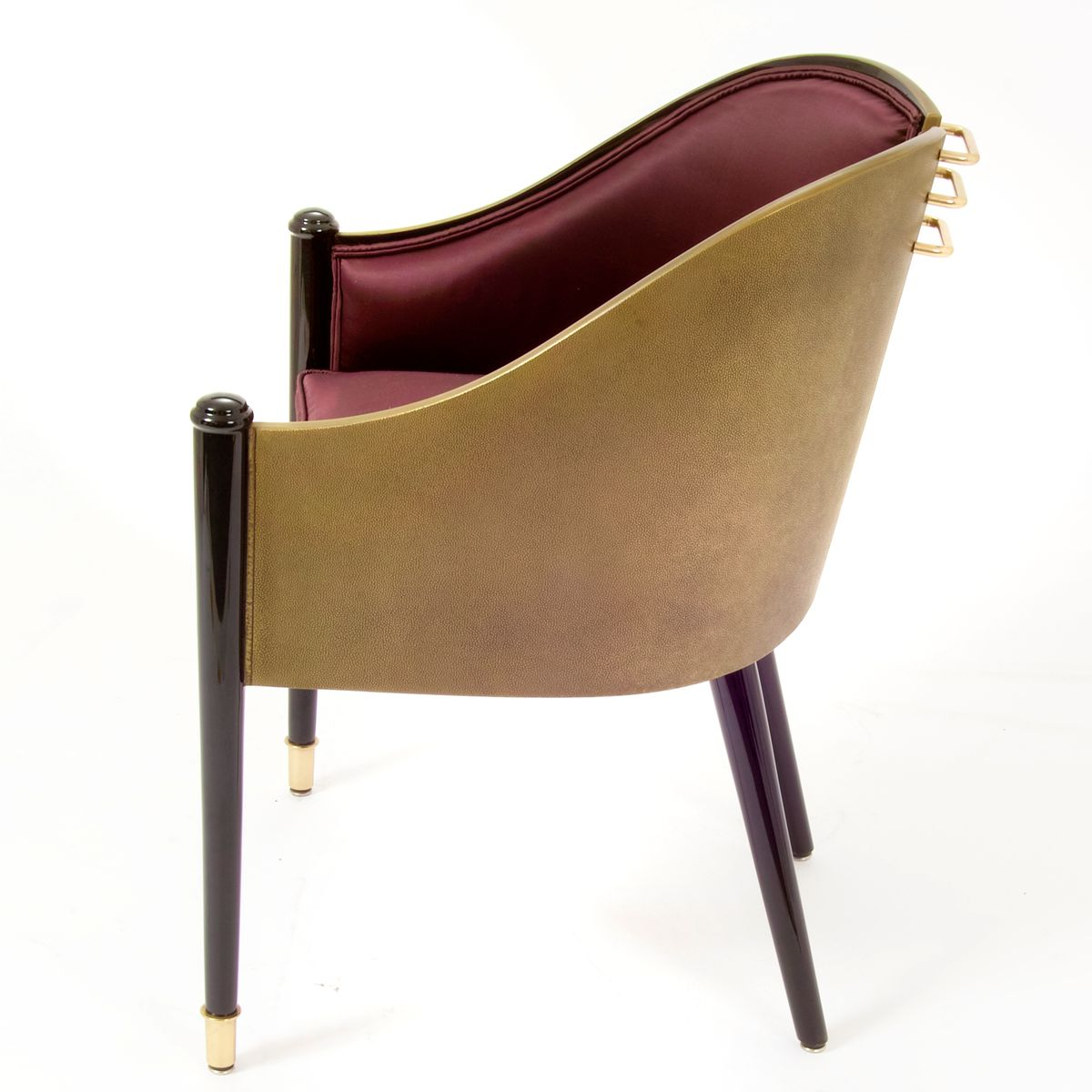Aubergine Armchairs With Ebonized Legs 1980 Set Of 2 For