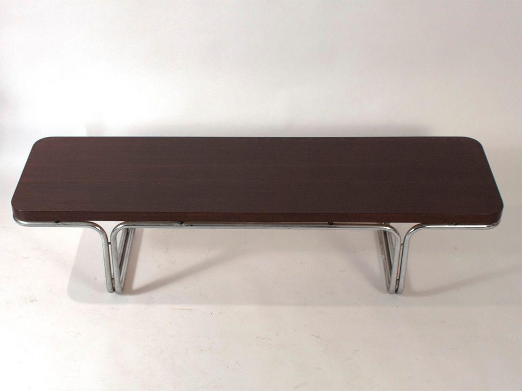 spanischer couchtisch aus holz chrom 1970er bei pamono. Black Bedroom Furniture Sets. Home Design Ideas