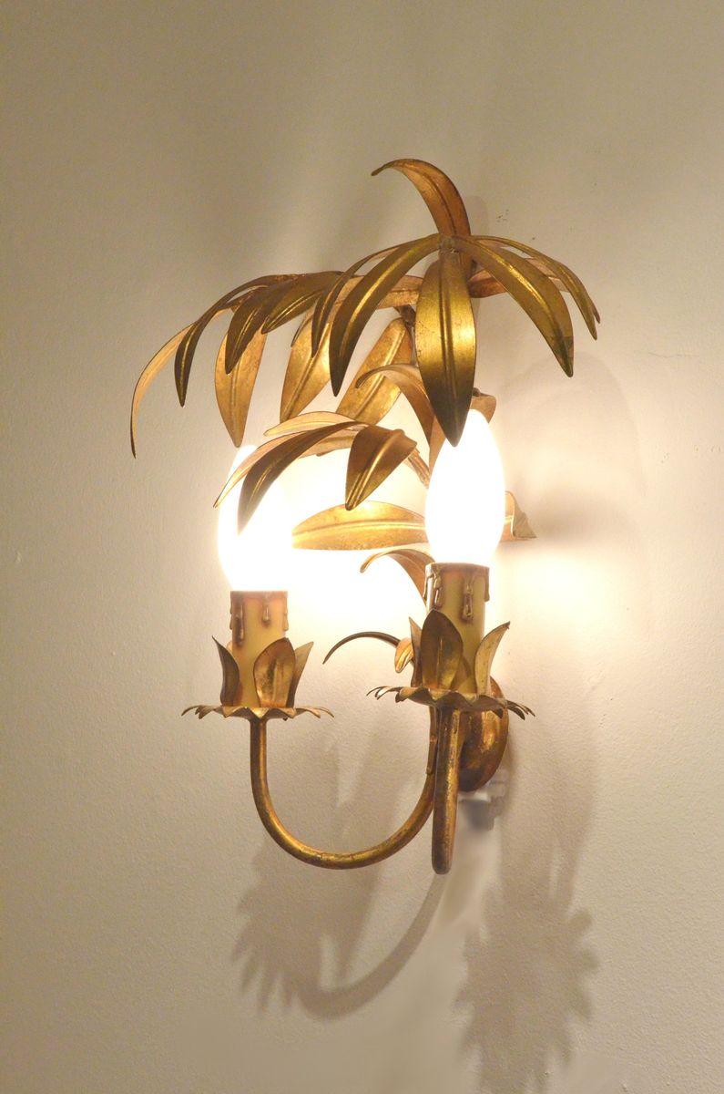 Galvanized wall sconce wall sconce ideas galvanized scrolled galvanized wall sconce golden metal palm tree wall sconces 1950s set of 2 for sale at amipublicfo Image collections
