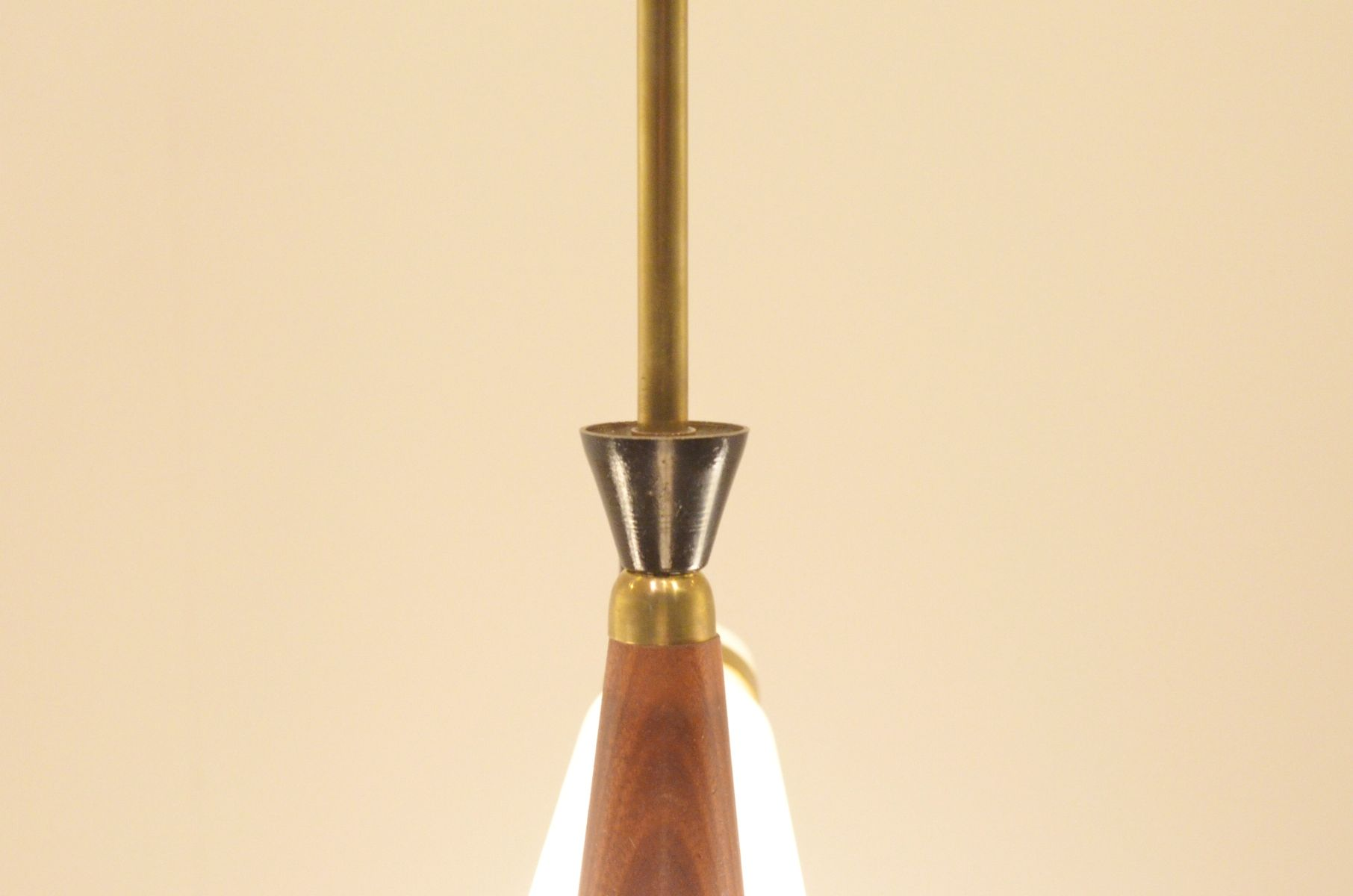 Mid century italian glass and teak ceiling lamp for sale for Mid century ceiling lamp