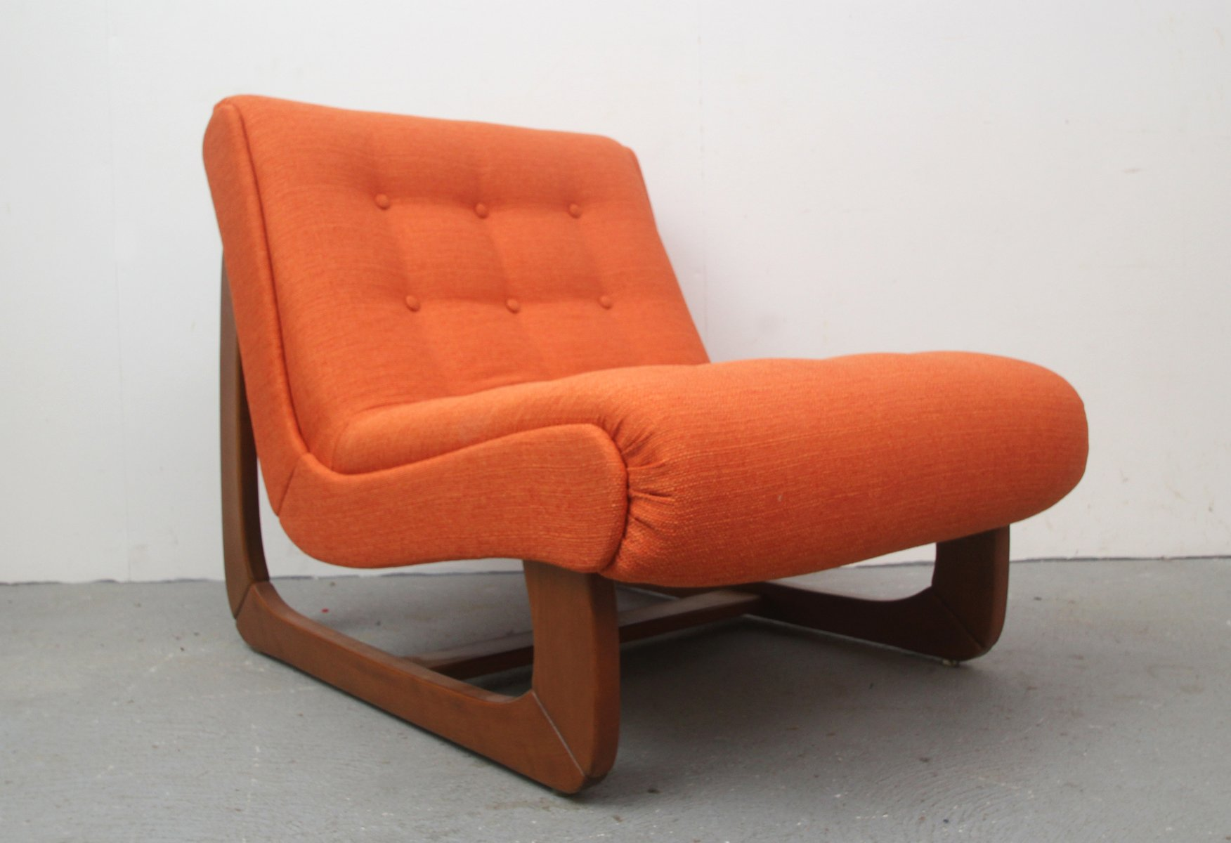 Vintage German Orange Lounge Chair for sale at Pamono