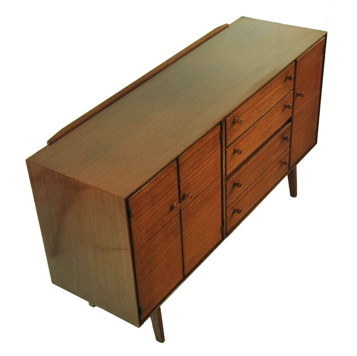 mid century sideboard in teak with 4 drawers for sale at. Black Bedroom Furniture Sets. Home Design Ideas