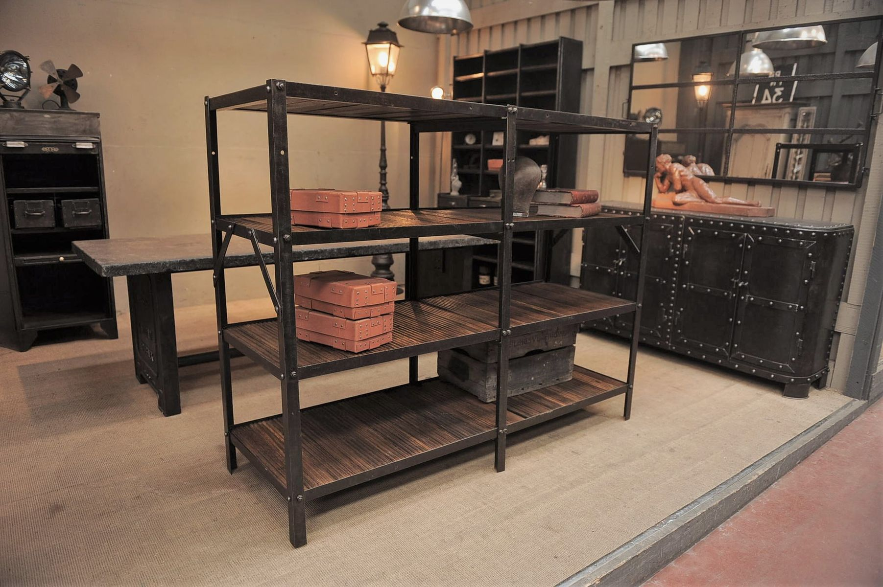 vintage industrial metal and wood shelving unit - Metal Shelving Unit