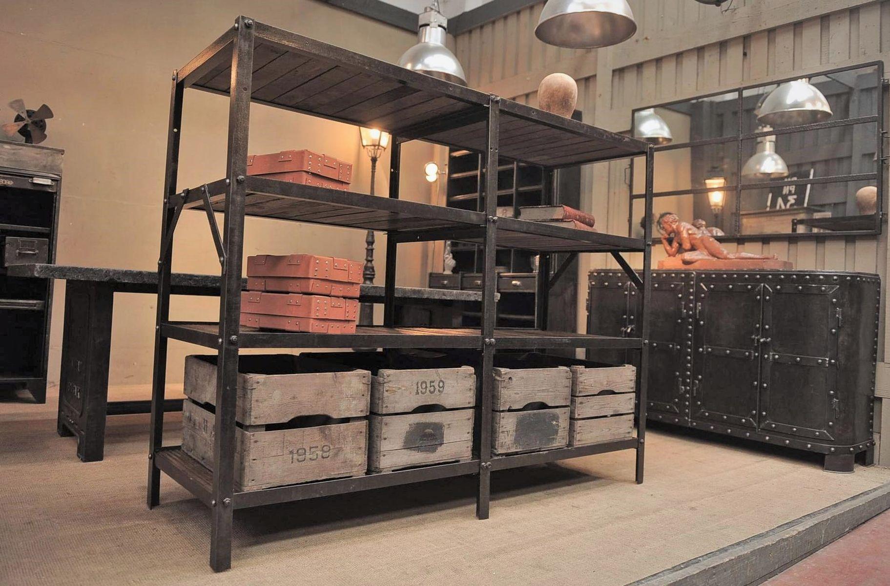 vintage industrial metal and wood shelving unit for sale. Black Bedroom Furniture Sets. Home Design Ideas
