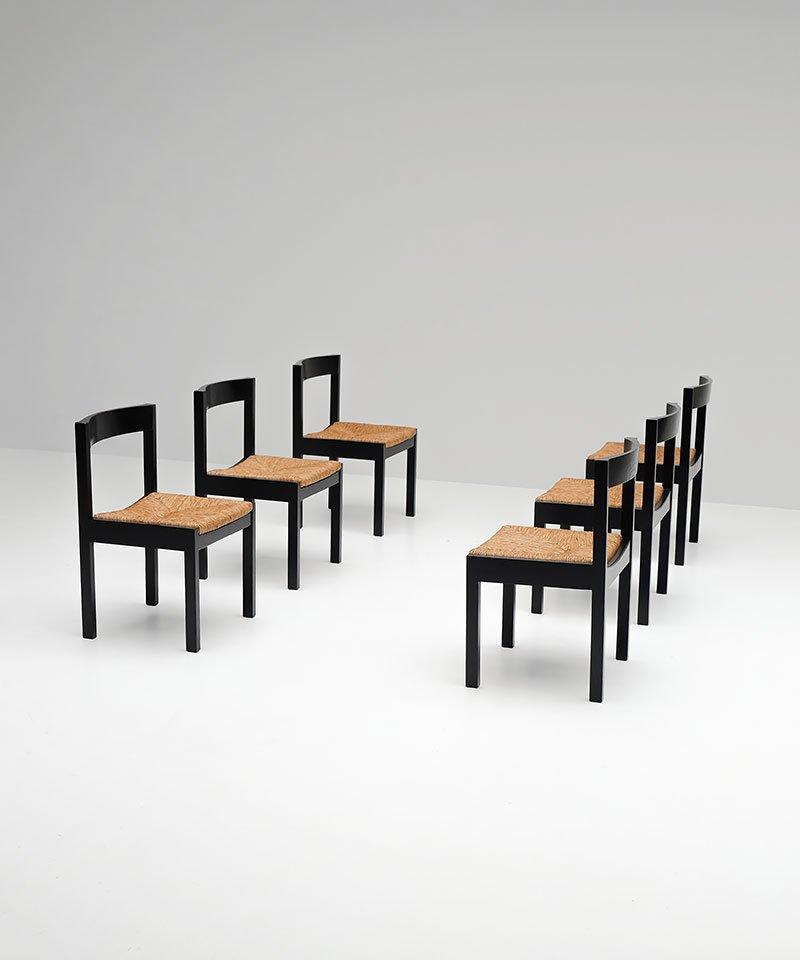 set von 6 schwarzen esszimmerst hlen m belideen. Black Bedroom Furniture Sets. Home Design Ideas
