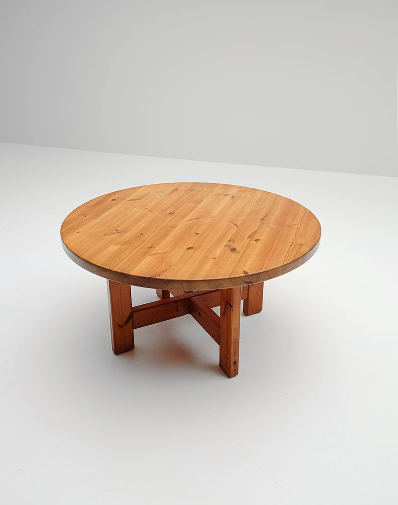 Round Pine Dining Table By Roland Wilhelmsson For Karl Anderson Söner