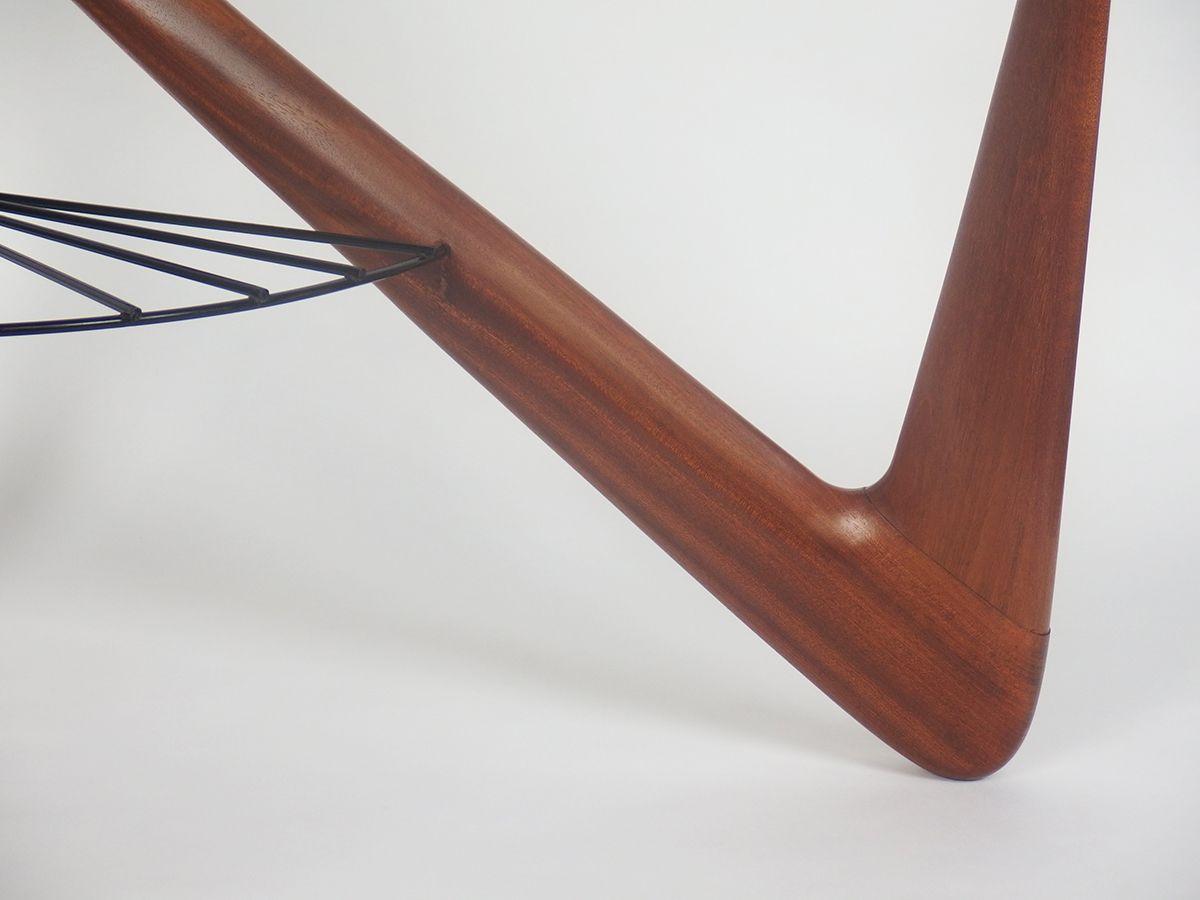 franz sischer couchtisch aus glas metall mahagoni von. Black Bedroom Furniture Sets. Home Design Ideas