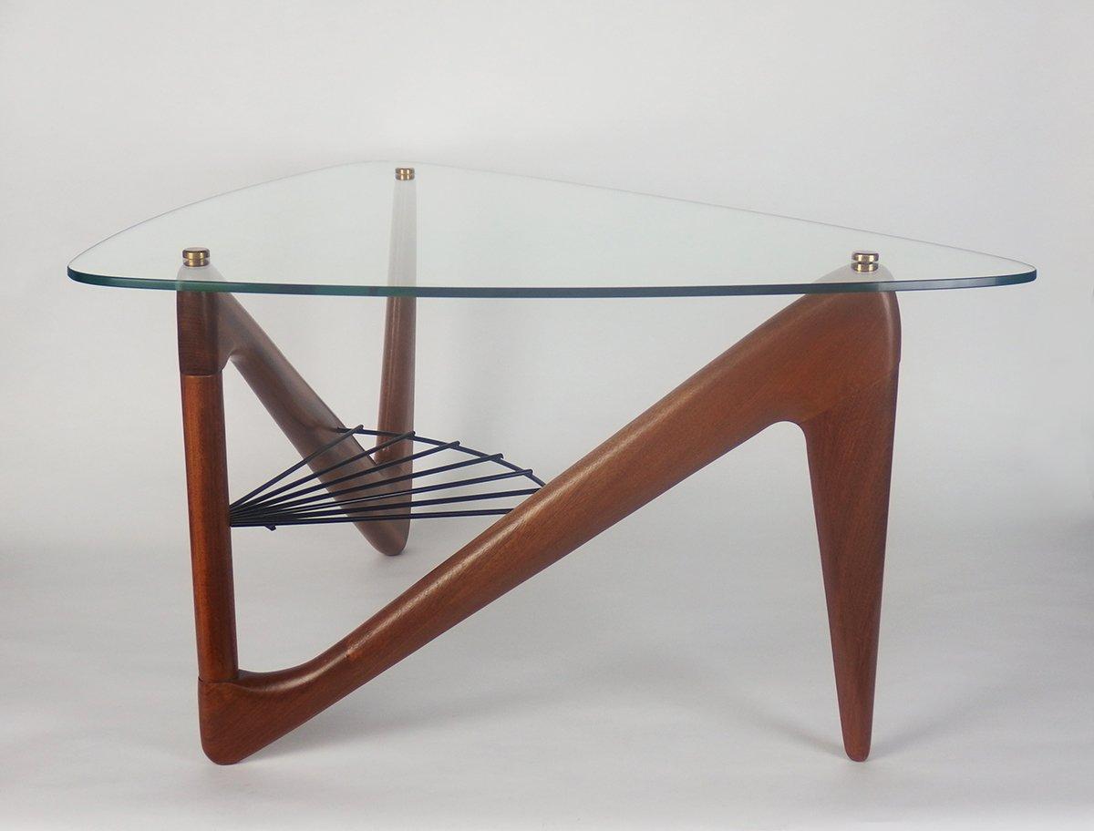 table basse en verre en m tal et en acajou par louis sognot 1950s en vente sur pamono. Black Bedroom Furniture Sets. Home Design Ideas
