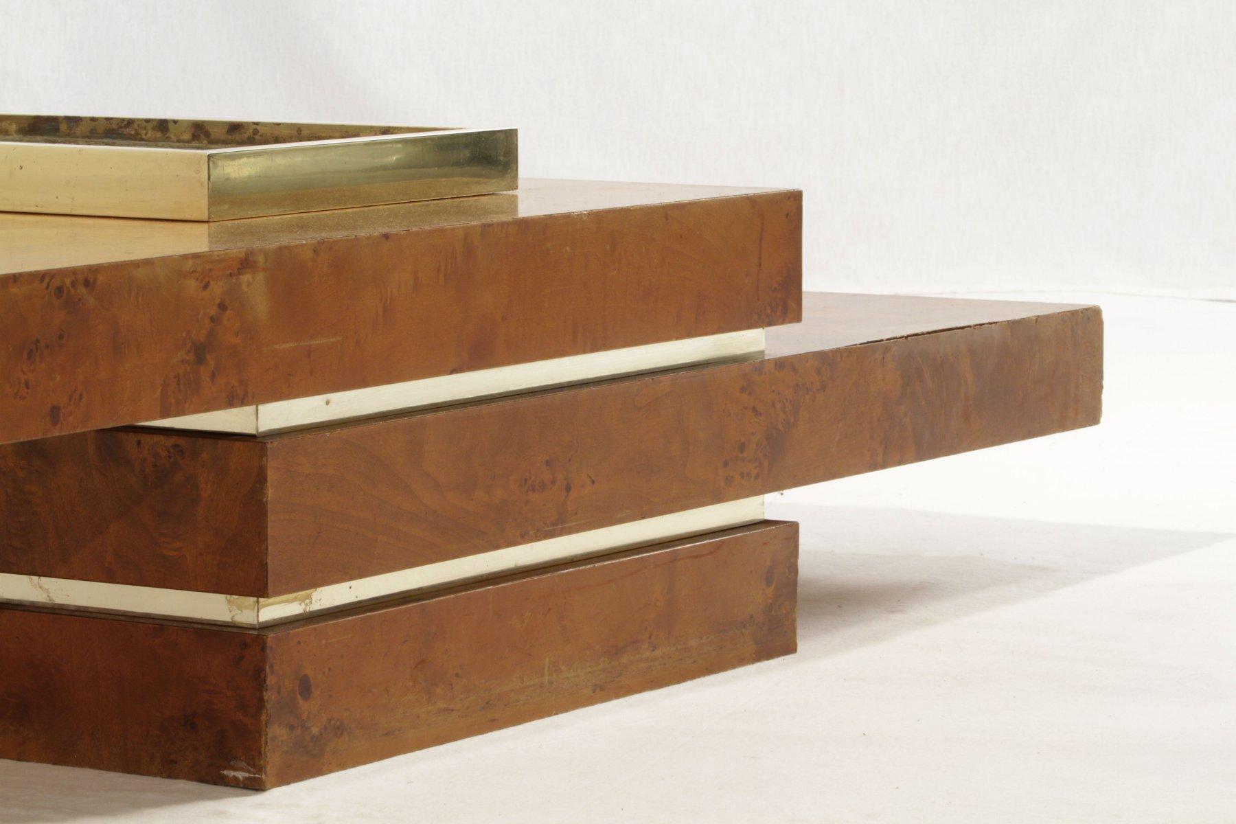 table basse en orme et en laiton en vente sur pamono. Black Bedroom Furniture Sets. Home Design Ideas