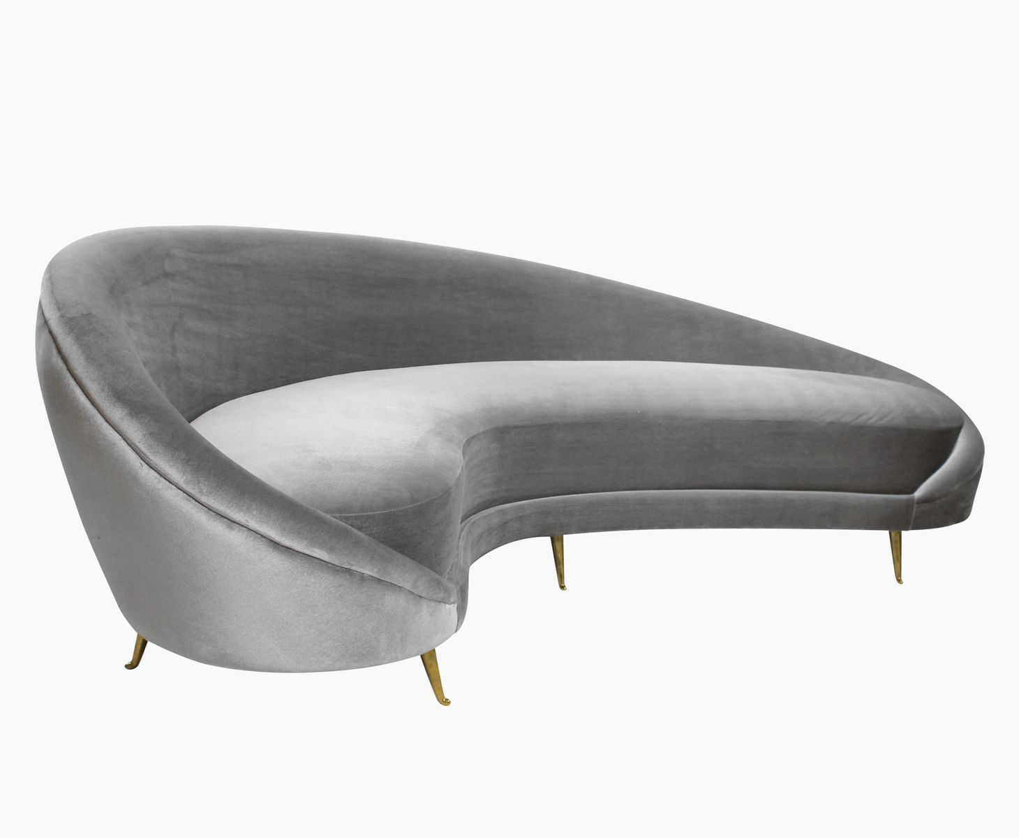 Italian Curved Grey Velvet Sofa for sale at Pamono