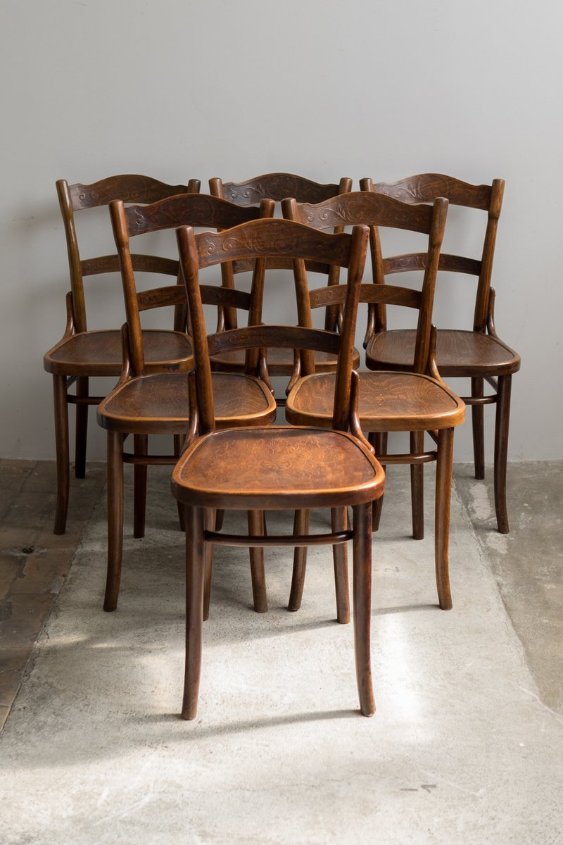 Antique Bentwood Chairs From Thonet 1910 Set Of 6 For