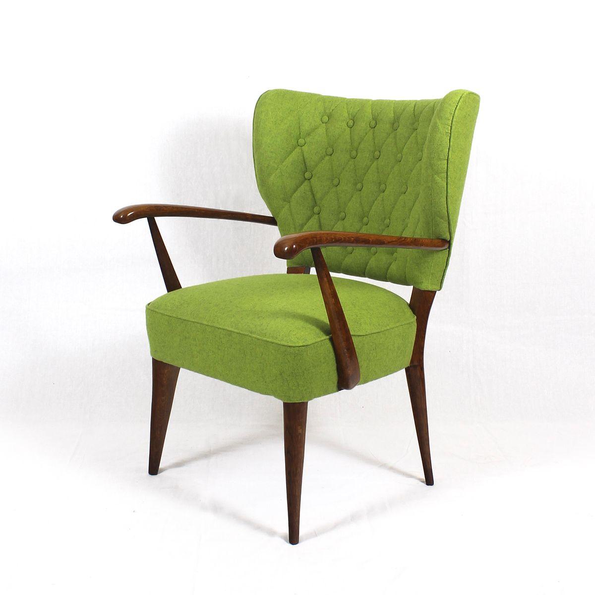 gr ne franz sische sessel aus eichenholz 1940er 2er set. Black Bedroom Furniture Sets. Home Design Ideas