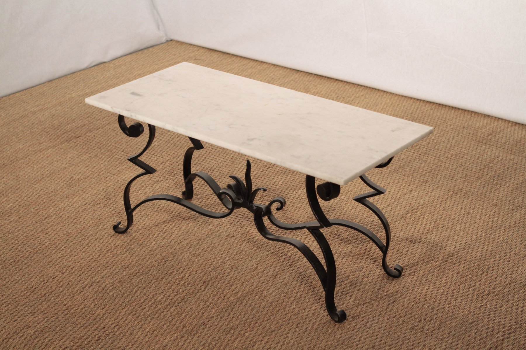 Wrought iron and marble coffee table for sale at pamono for Marble and wrought iron coffee table