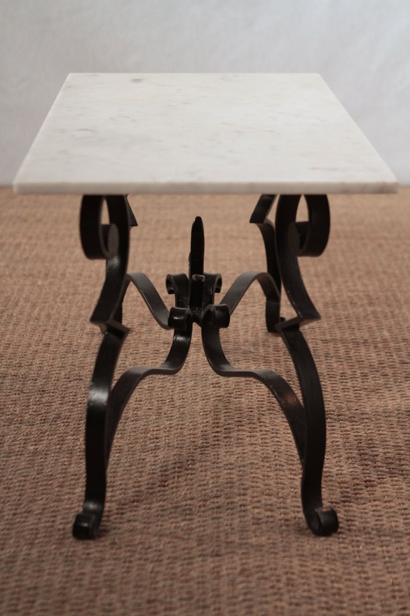 wrought iron and marble coffee table for sale at pamono