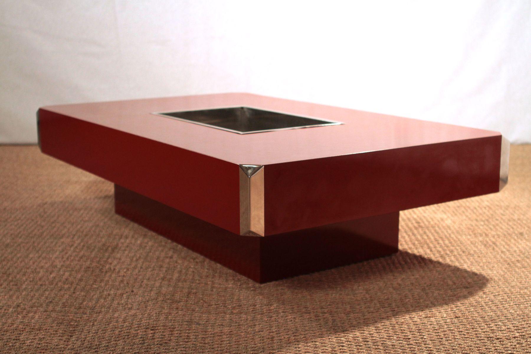table basse vintage rouge par willy rizzo pour mario sabot en vente sur pamono. Black Bedroom Furniture Sets. Home Design Ideas