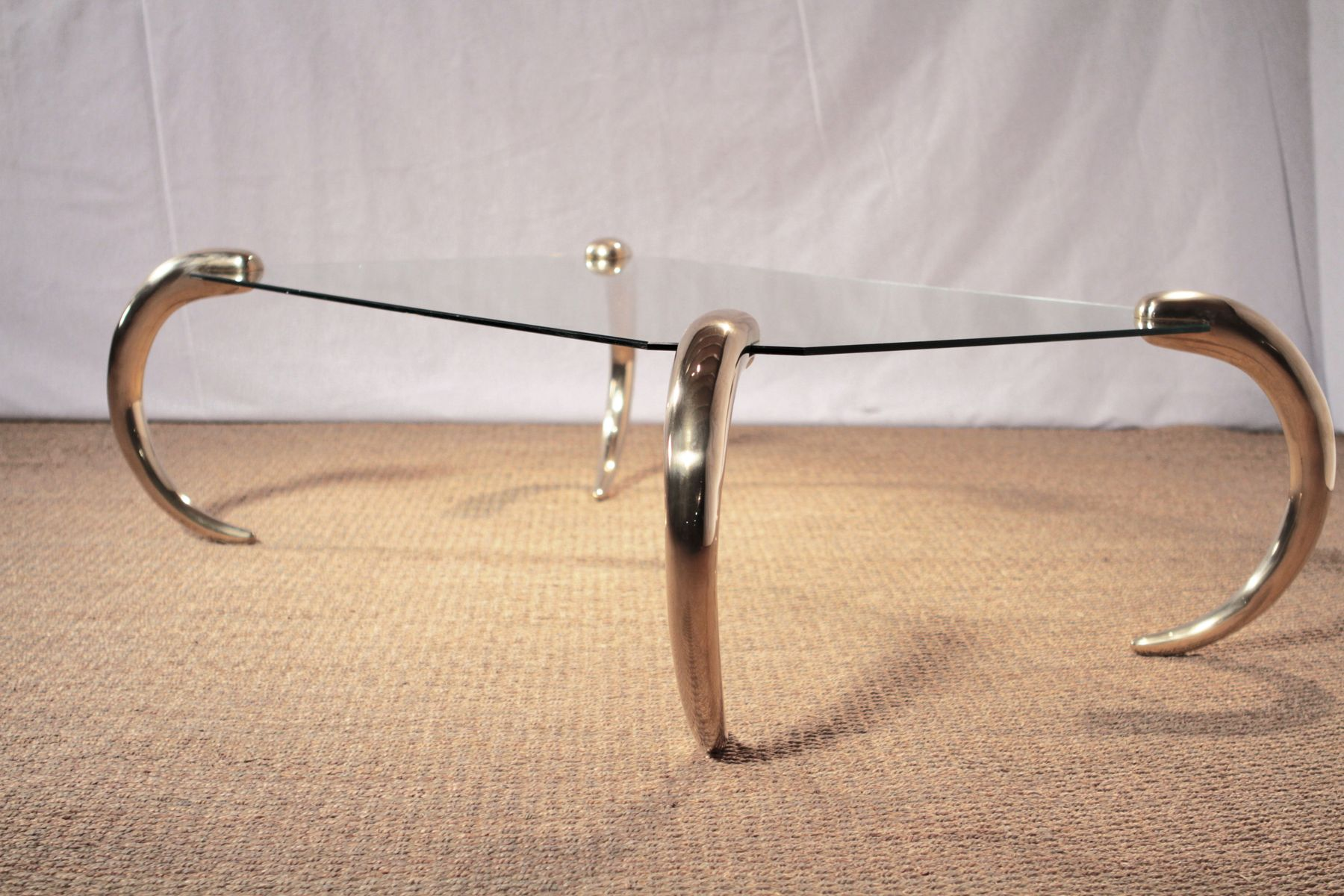 Glass & Brass Coffee Table from Maison Jansen 1970s for sale at