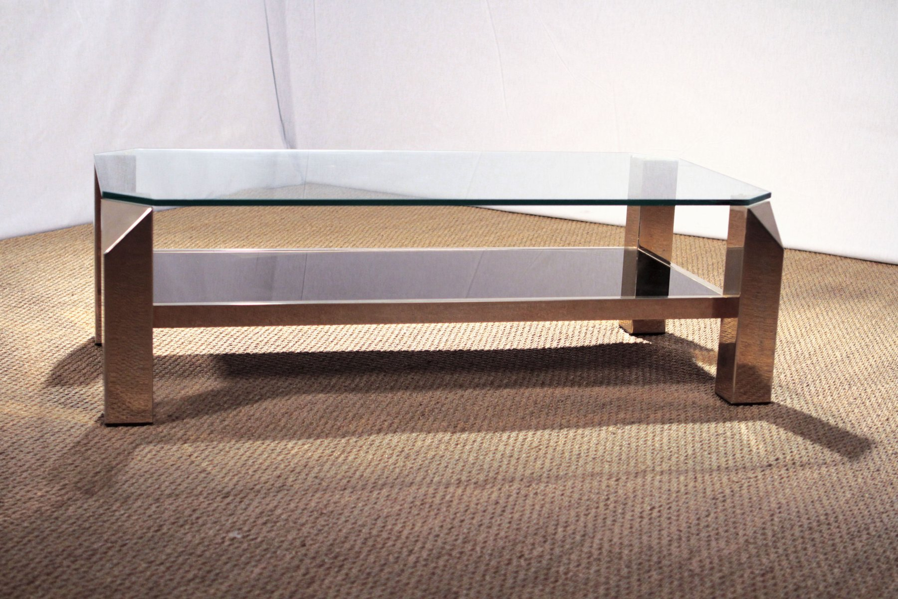 Gilded Coffee Table From Belgochrom, 1970s