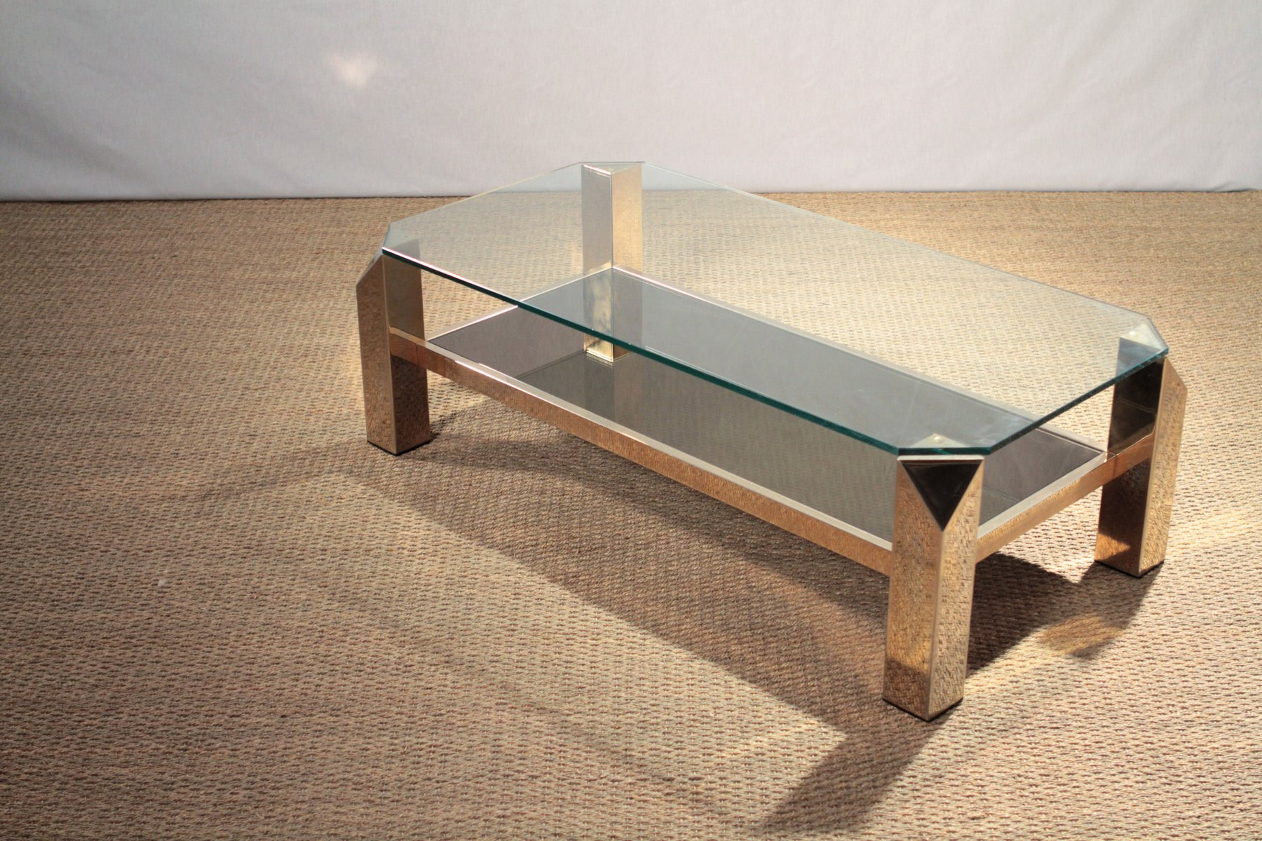 Exceptional Gilded Coffee Table From Belgochrom, 1970s