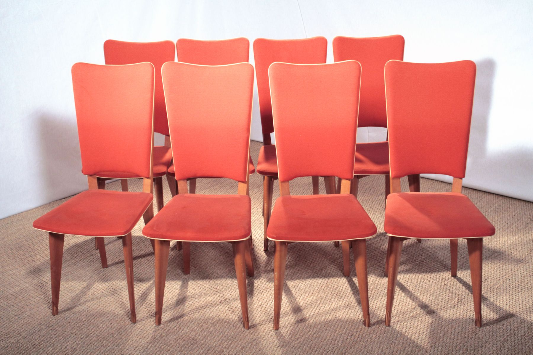 Art Deco Style Pink Dining Chairs 1950s Set Of 8 For