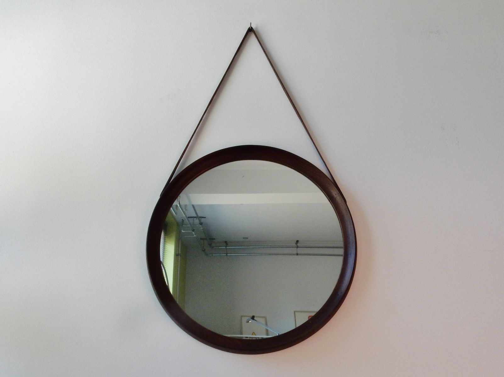 Vintage round weng mirror for sale at pamono for Miroir wenge