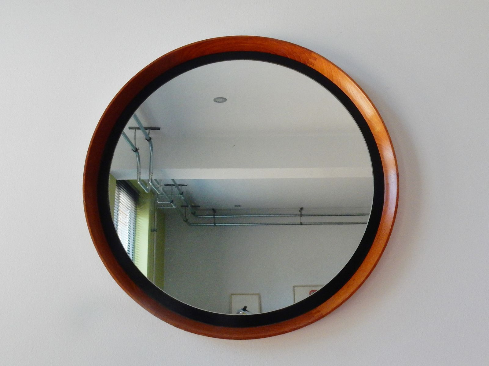 Vintage round german wooden mirror for sale at pamono for Round wood mirror