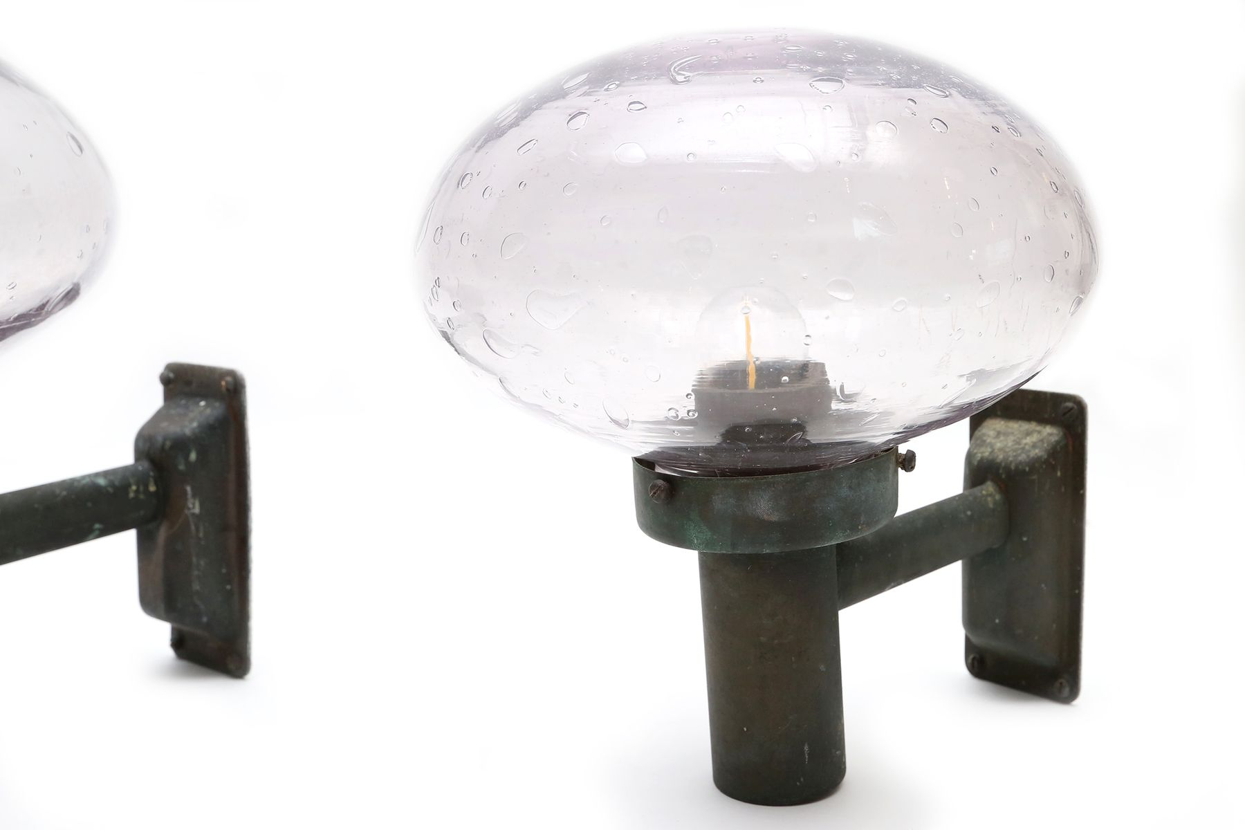 Vintage Glass Wall Lamps : Vintage Handblown Glass Wall Lamps, Set of 4 for sale at Pamono