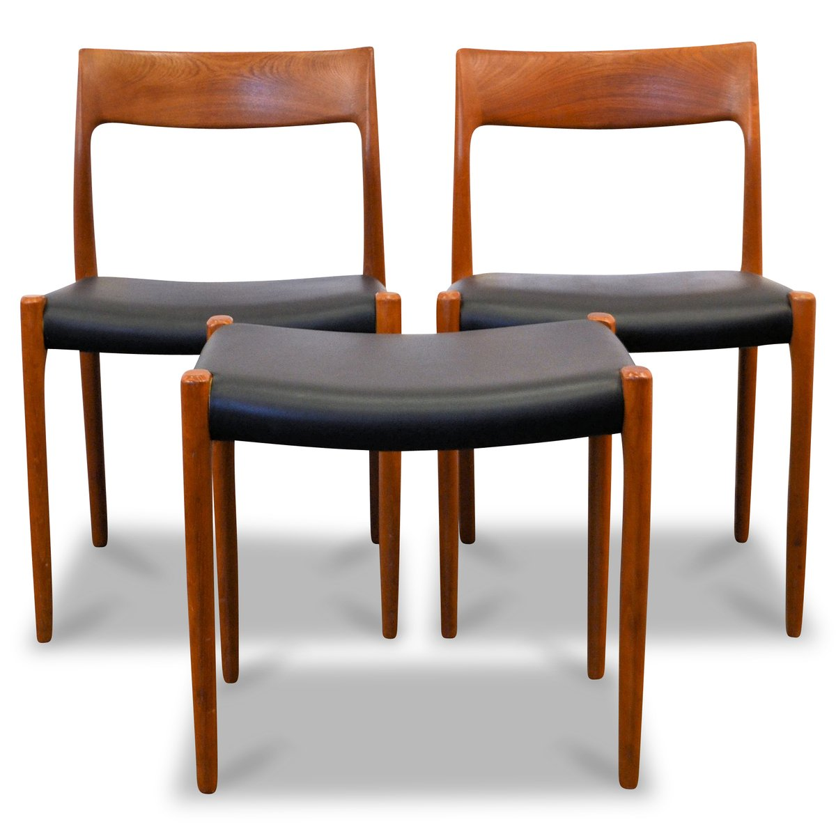 Danish Teak Dining Chairs And Matching Stool By Niels O