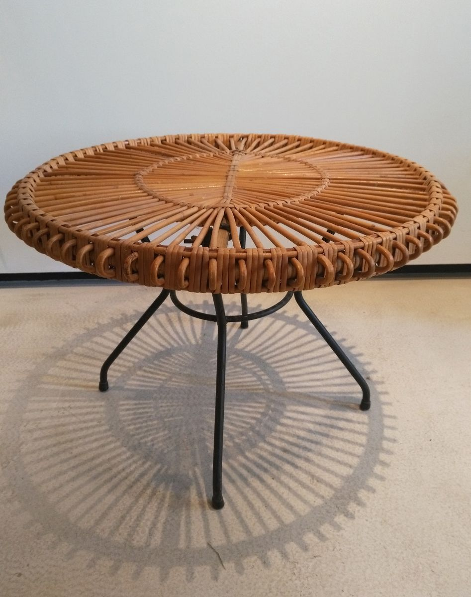 Round Rattan And Black Metal Coffee Table 1950s For Sale At Pamono