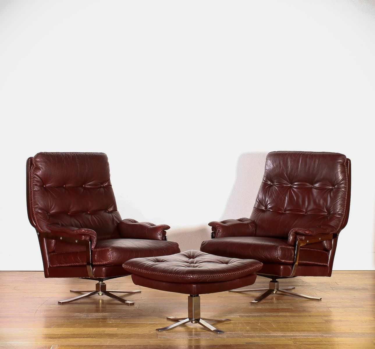 Leather Lounge Chairs and Ottoman by Arne Norell for Vatne Møbler 1960s Set
