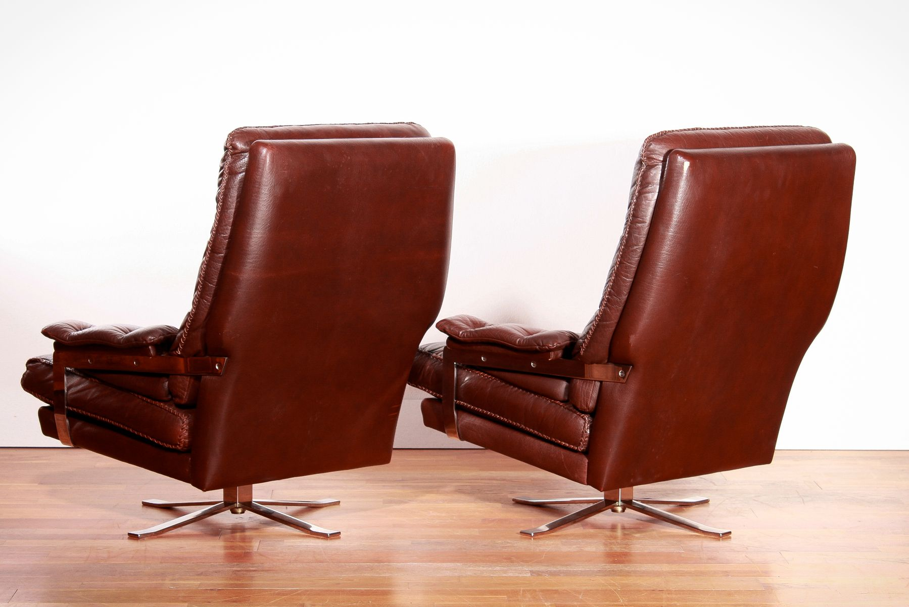 Leather Lounge Chairs and Ottoman by Arne Norell for Vatne M¸bler