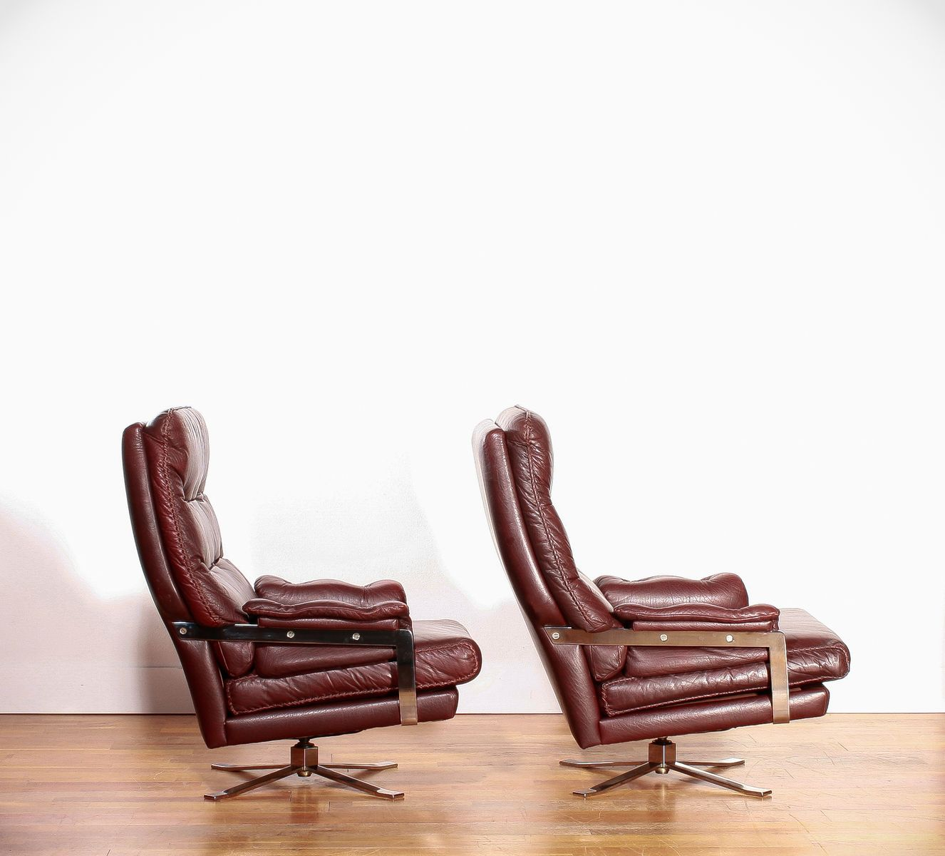 Leather lounge chairs and ottoman by arne norell for vatne