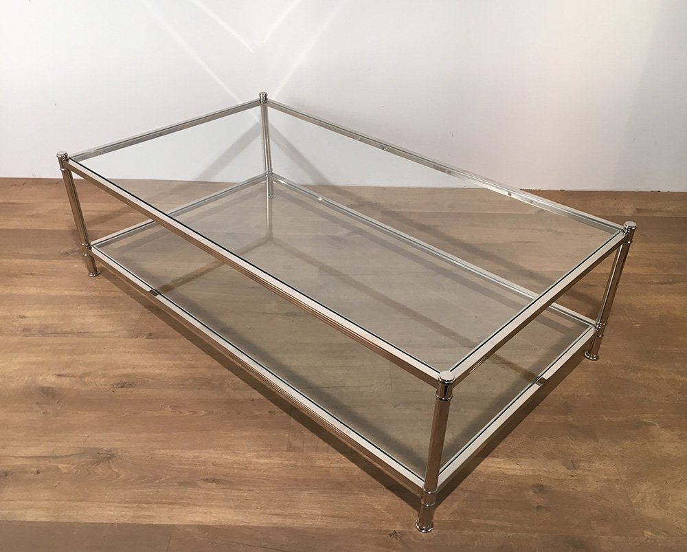 large chrome coffee table from roche bobois 1970s for. Black Bedroom Furniture Sets. Home Design Ideas