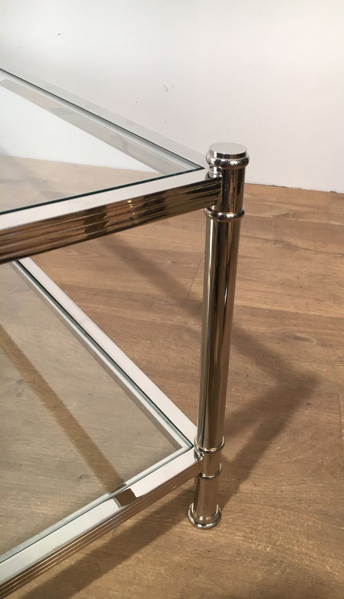 Large chrome coffee table from roche bobois 1970s for sale at pamono for Table ardoise roche bobois