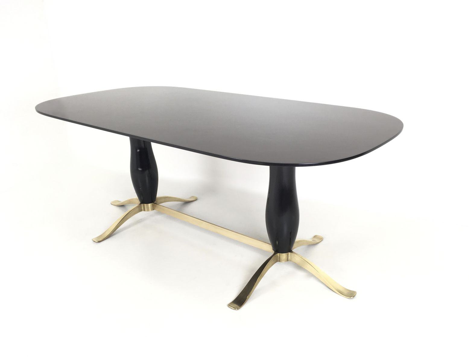 Black Lacquered Wood Brass Dining Table 1950s For Sale At Pamono