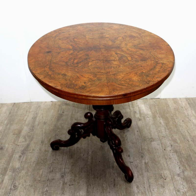 Antique Carved Table With Burl Veneer, 1800s