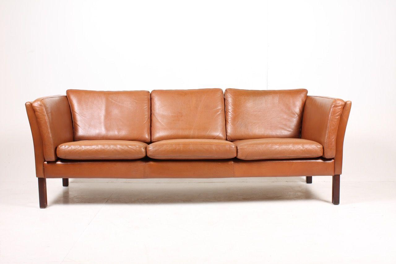 danish cognac leather three