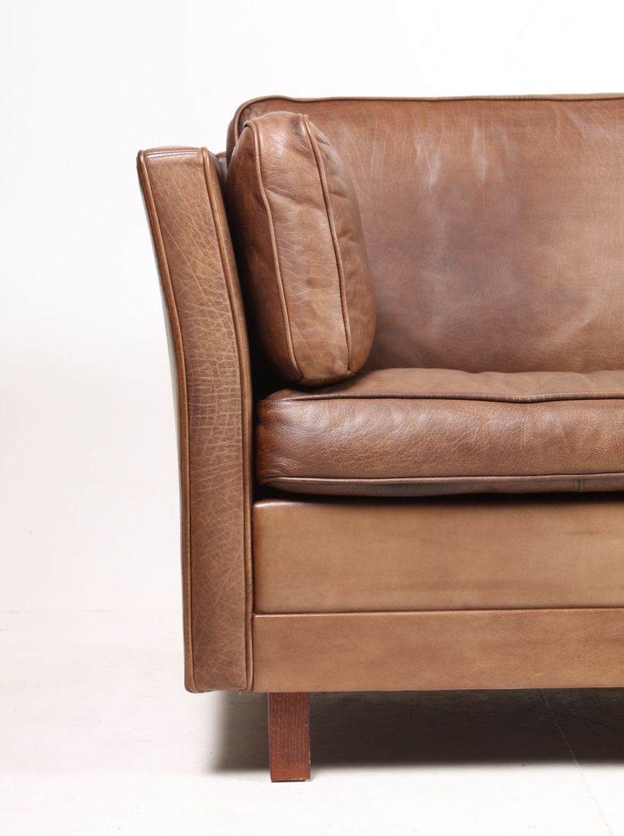 Danish three seater brown leather sofa 1980s for sale at for Leather sofa 7 seater