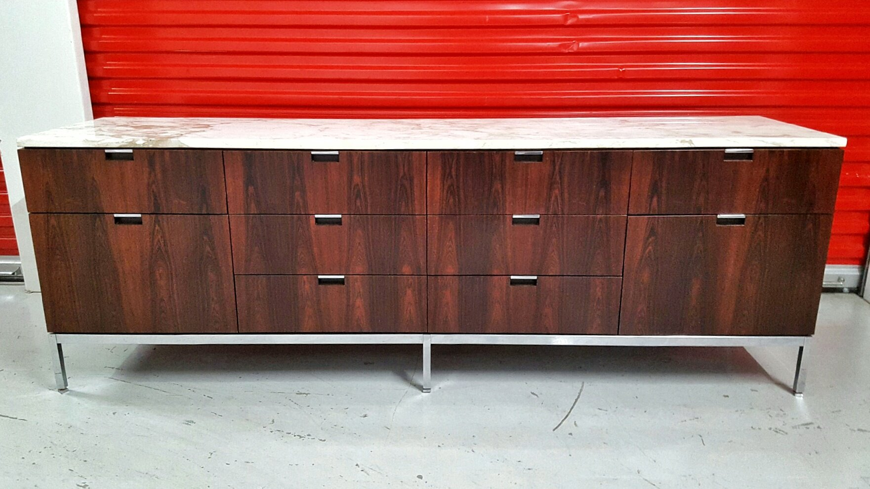 Brazilian Rosewood Credenza with a Carrara Marble Top by Florence