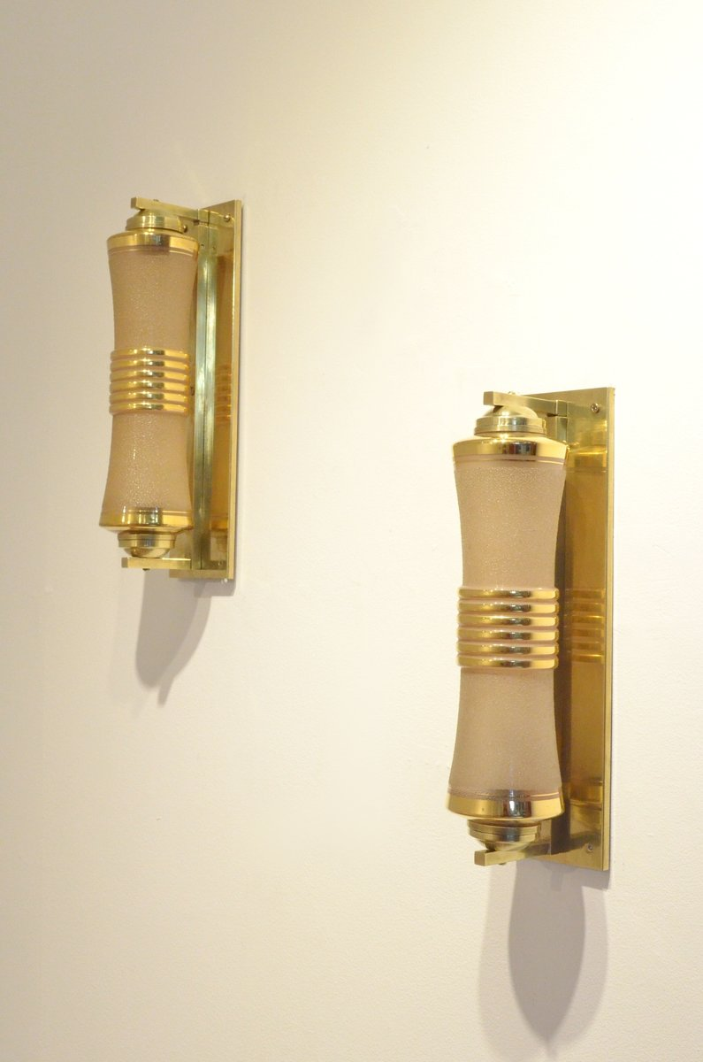 Wall Sconces Set Of 2 : French Glass & Brass Cylindrical Wall Sconces, 1930s, Set of 2 for sale at Pamono