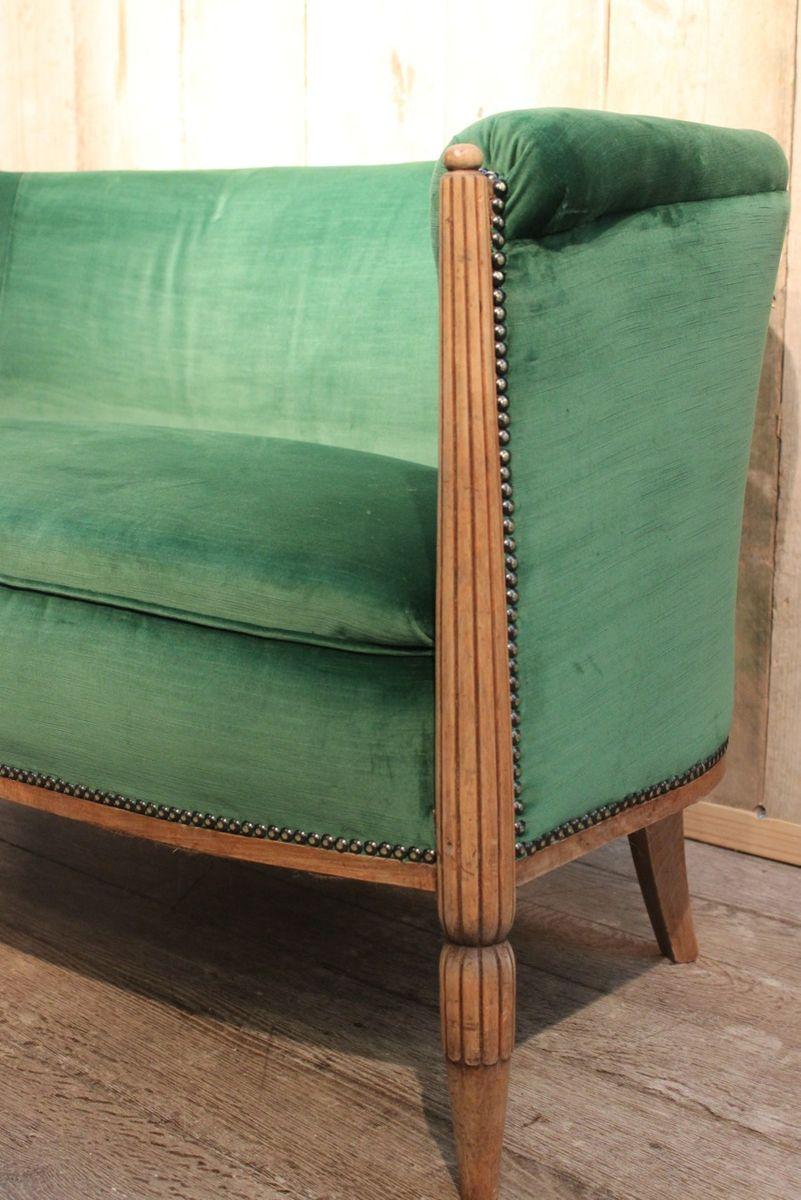 gr nes art deco sofa aus samt bei pamono kaufen. Black Bedroom Furniture Sets. Home Design Ideas